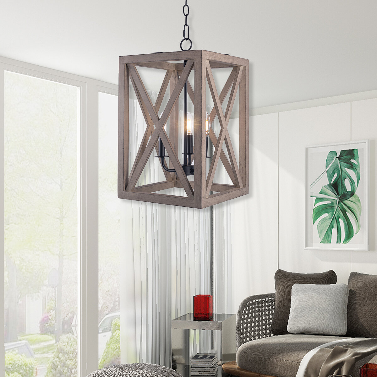 Gracie Oaks Ramseur 3 Light Candle Style Rectangle Chandelier With Rope Accents Wayfair