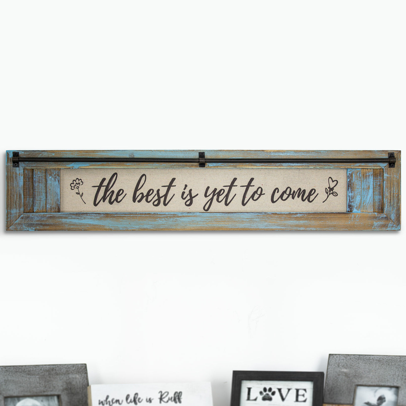 Home Sweet Home Sign 30-in W x 6-in H Inspirational Plaque Wood Look Wall Art