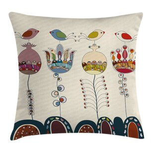 Garden Stylized Birds Flowers Pillow Cover