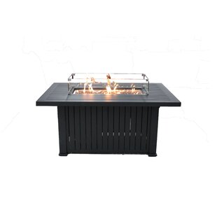 New Spring Patio Glass Border Aluminum Propane Fire Pit Table