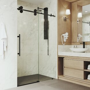 Best Elan 60'' x 74'' Adjustable Single Sliding Frameless Shower Door with RollerDisk™ Technology By VIGO
