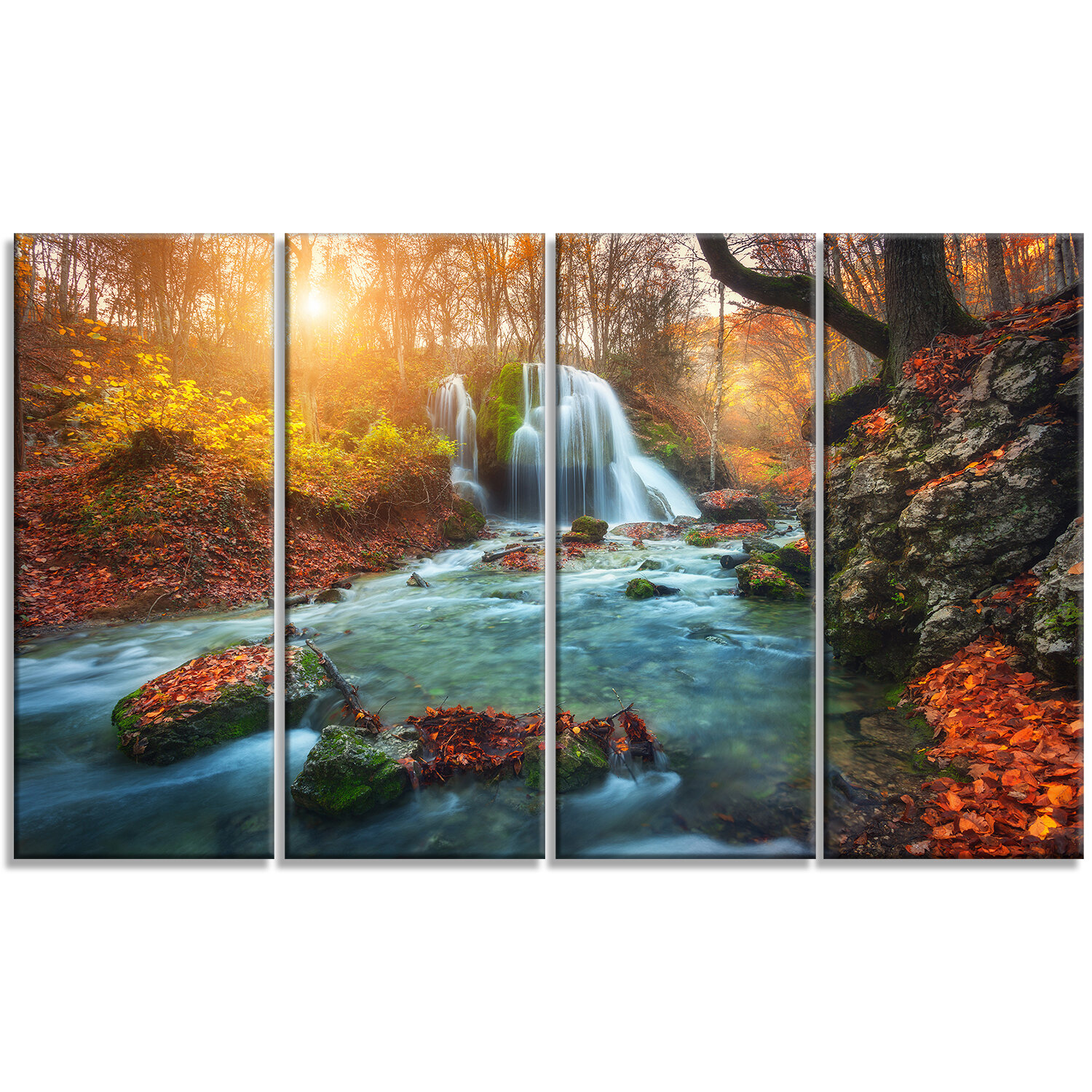 Designart Fast Flowing Fall River In Forest 4 Piece Graphic Art On Wrapped Canvas Set Wayfair