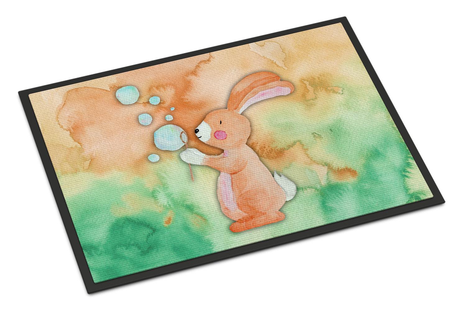 Harriet Bee Beulah Rabbit And Bubbles Watercolor Non Slip Outdoor Door Mat Wayfair