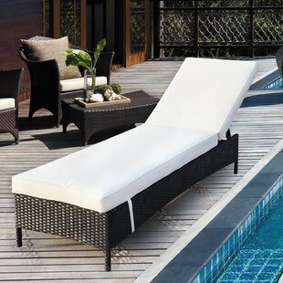 Ebern Designs Crosson Wicker Adjustable Pool Reclining Chaise Lounge with Cushion