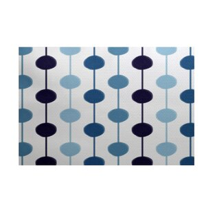 Affordable Leal Geometric Blue/White Indoor/Outdoor Area Rug By Ivy Bronx