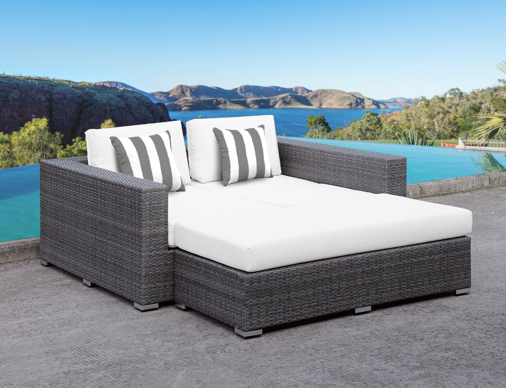 Orren Ellis Roslindale 2 Piece Patio Daybed with Cushions