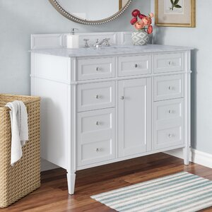 Deleon 48″ Single Cottage White Marble Top Bathroom Vanity Set