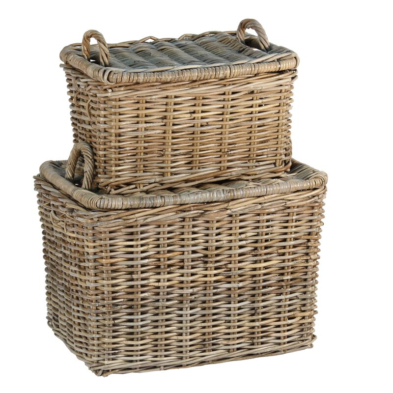 Picnic 2 Piece Wicker/Rattan Basket Set