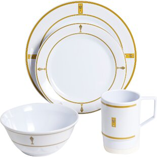 Decorated Melamine Fish 24 Piece Dinnerware Set, Service for 6