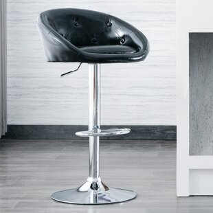 Mount PU Leather Adjustable Height Swivel Bar Stool by Orren Ellis