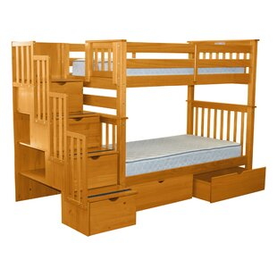 Bedz King Stairway Tall Twin Over Twin Bunk Bed with Extra Storage