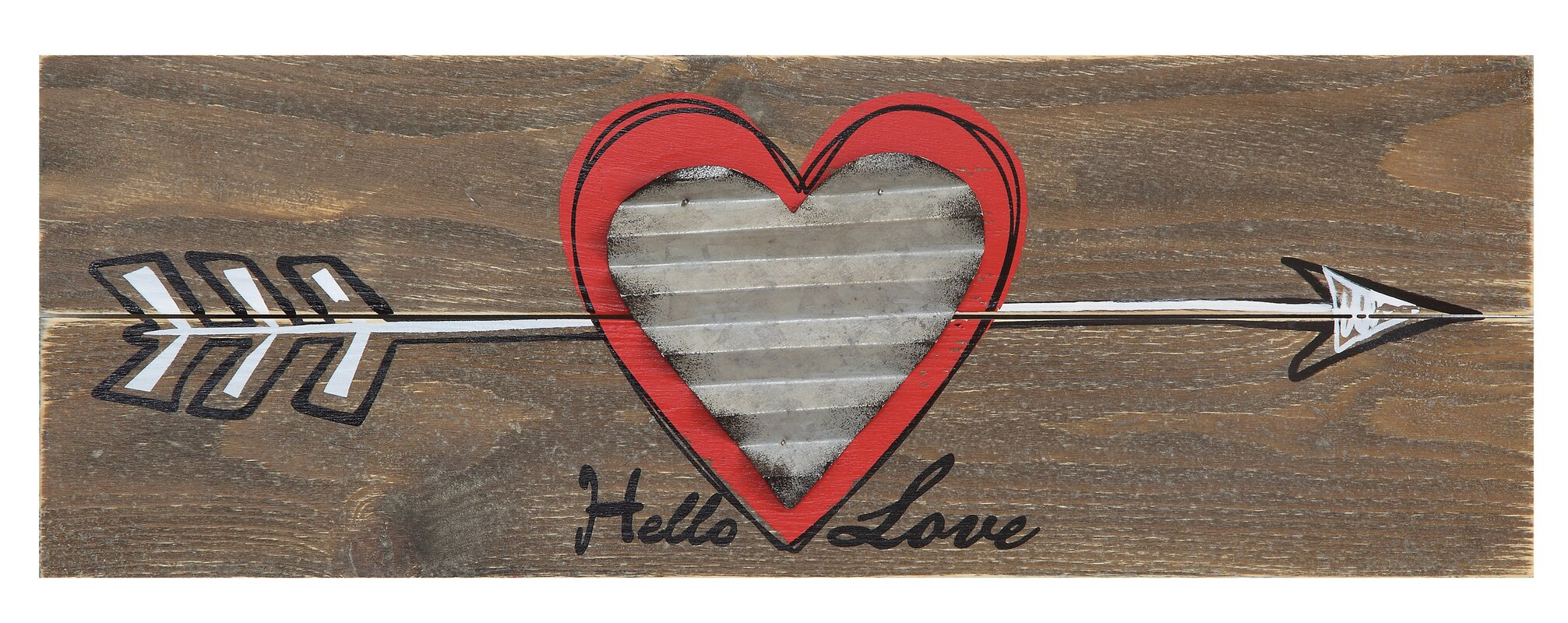 Creative co op sayings hello love with arrow and corrugated metal sayings hello love with arrow and corrugated metal heart wall dcor amipublicfo Images