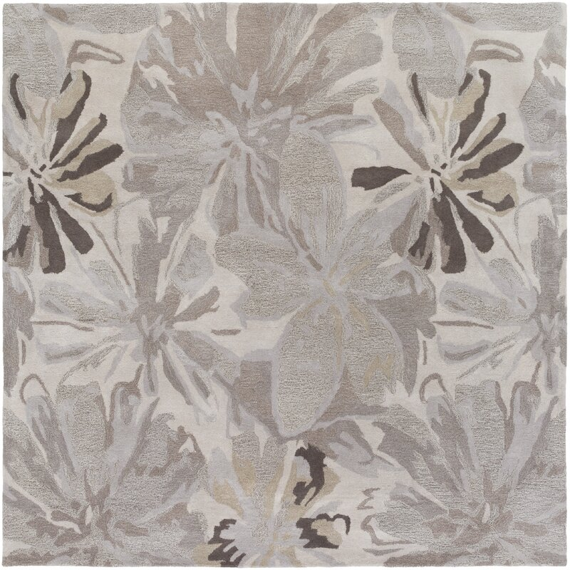 Alcott Hill Amice Hand-Tufted Wool Beige/Gray Area Rug, Size: Square 99