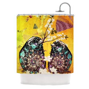 Birds In Love Single Shower Curtain by East Urban Home Find