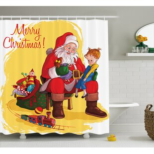 Buy clear Christmas Kid and Santa Gifts Shower Curtain By The Holiday Aisle