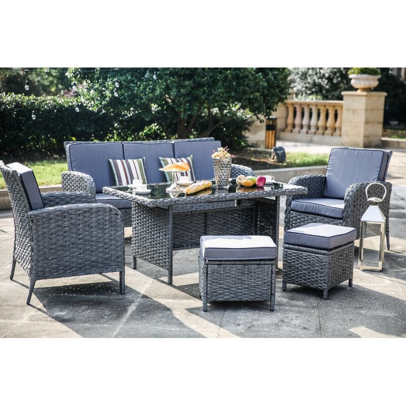 One Allium Way Brixham 6 Piece Ratan Complete Patio Set With