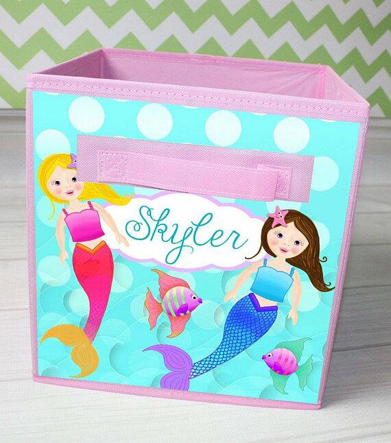 Mermaid Personalized Fabric Bin