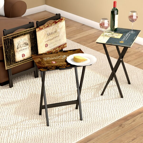 Darby Home Co Armetta Rustic Wine Labels TV Tray With Stand (Set Of 4) U0026  Reviews | Wayfair