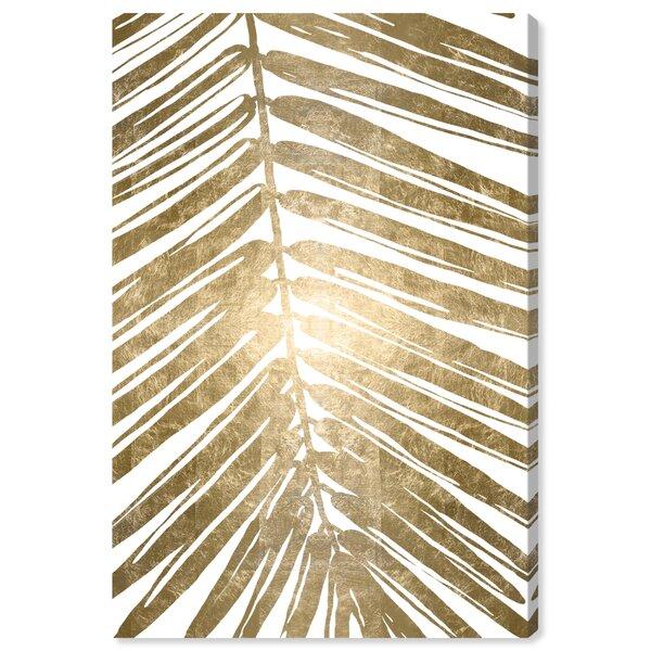 House Of Hampton Gold Tropical Leaves Iv Gold Metallic Graphic Art Print Black and gold tropical leaves. gold tropical leaves iv gold metallic graphic art print