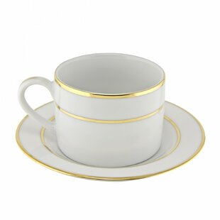 Gold Double Line 6 oz. Teacup and Saucer (Set of 6)
