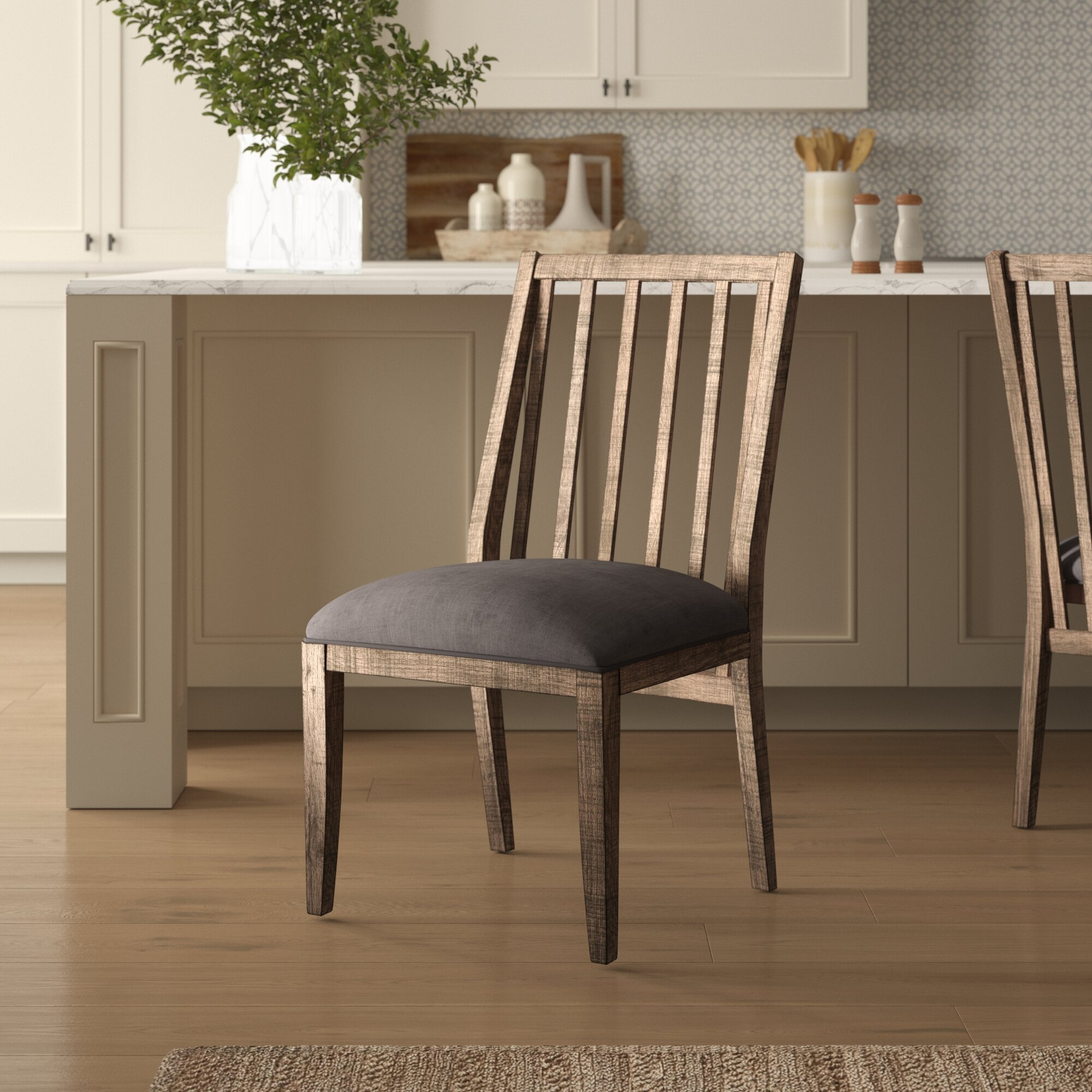 Birch Lane Macneil Linen Upholstered Slat Back Side Chair In Brown Gray Reviews Wayfair