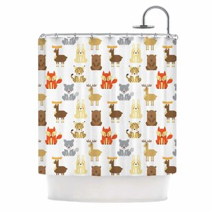 'Retro Animals' Single Shower Curtain