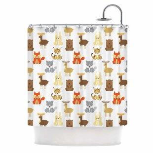 'Retro Animals' Single Shower Curtain