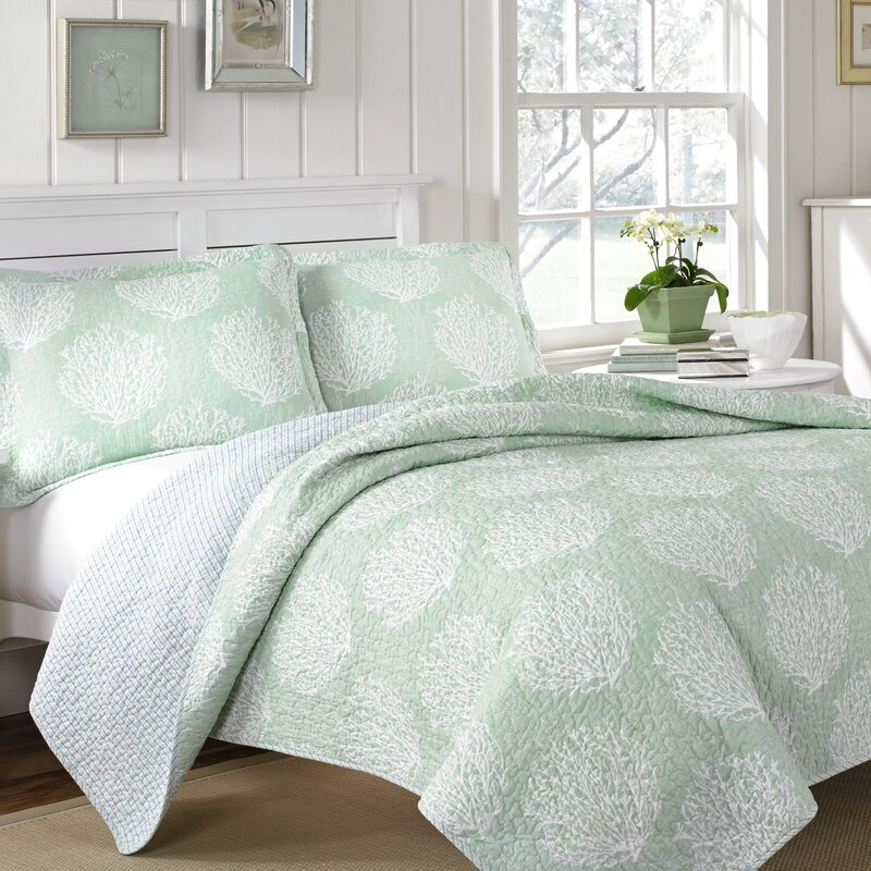 Laura Ashley Home Laura Ashley Coral Coast 3 Piece Quilt Set by ... : coral quilt - Adamdwight.com