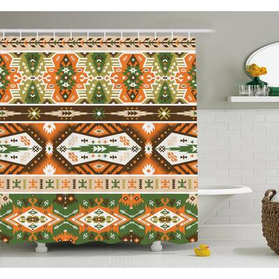 Jeannette Tribal Vector Design With Tattoo Aztec Mayan Style Stripes Shapes Print Shower Curtain