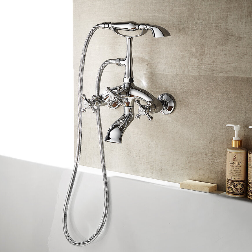 Vinnova Juniper Double Handle Wall Mounted Clawfoot Tub Faucet