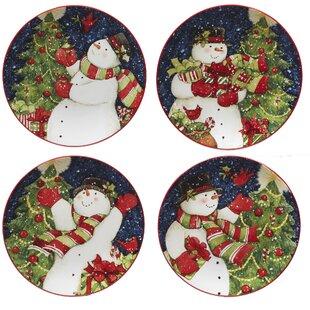 delilah snowman 4 piece dessert plate set