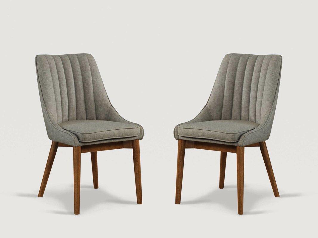 Corrigan Studio Wilker Upholstered Side Chair in Gray (Set of 2)
