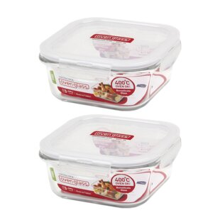 Oven Glass Euro Heat Resistant Glass Square 25.3 Oz. Food Storage Container  (Set Of 2)