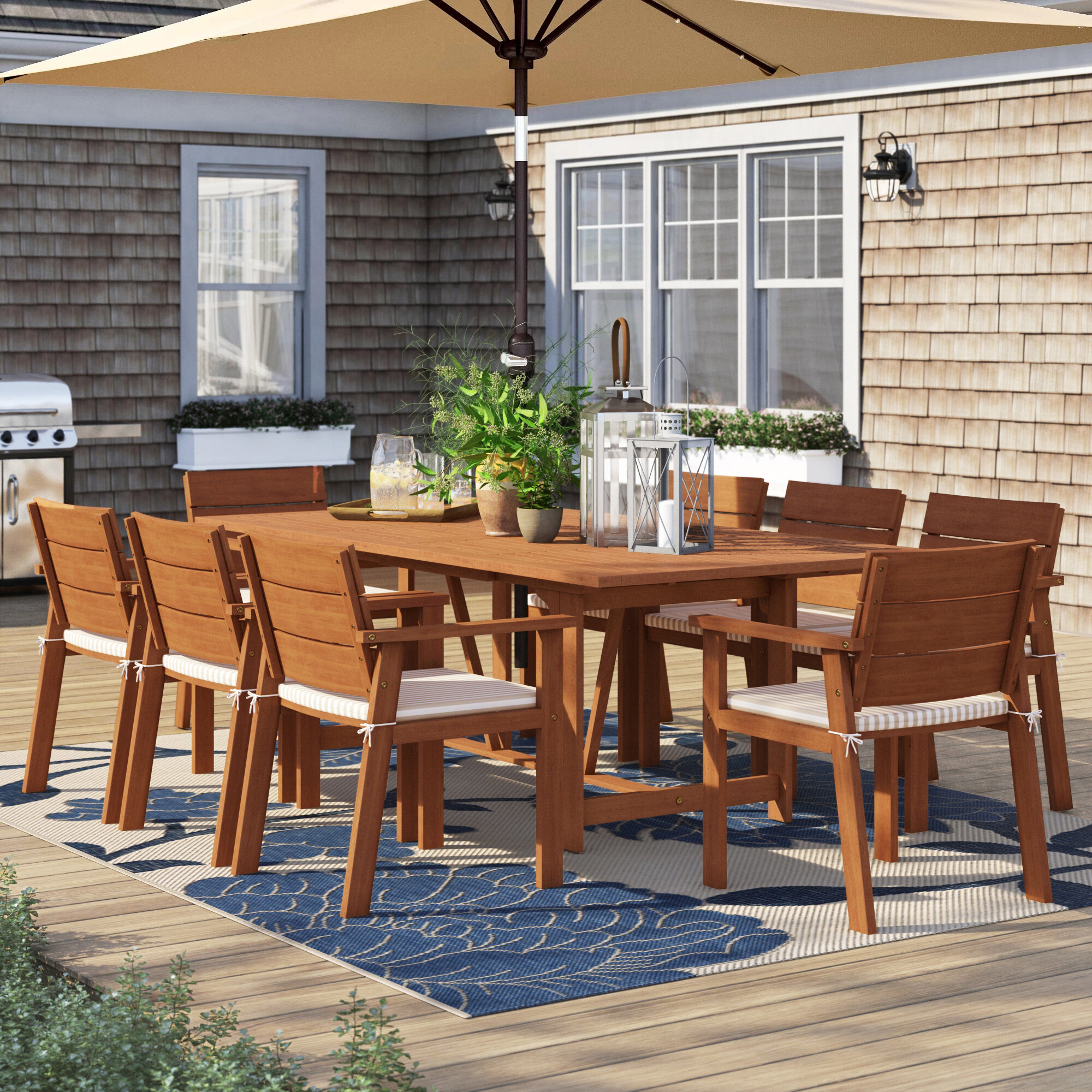 Sol 72 Outdoor Brighton 9 Piece Dining Set With Cushions Reviews Wayfair