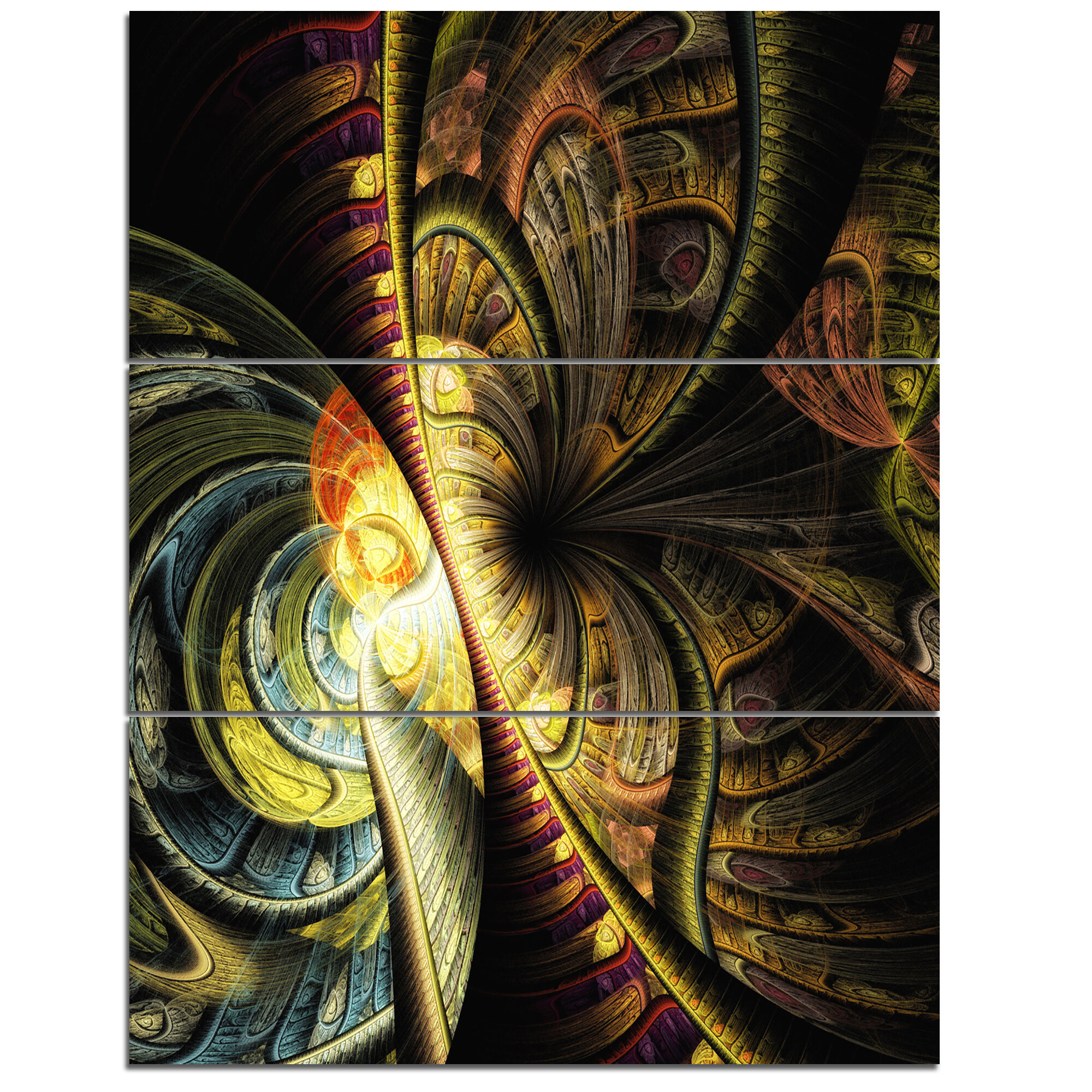 Designart Fractal Illustration 3 Piece Graphic Art On Wrapped Canvas Set Wayfair