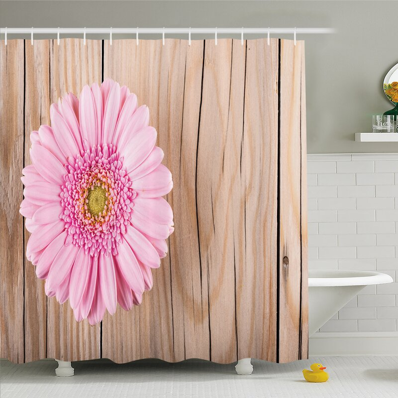 Ambesonne Rustic Home Gerbera Daisy On Oak Dramatic South American