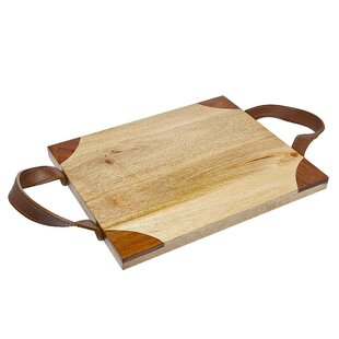 Wood Cutting Board with Leather Handle