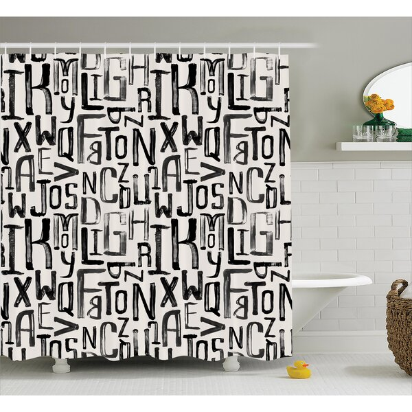 East Urban Home Artsy Grunge Letters Decor Shower Curtain