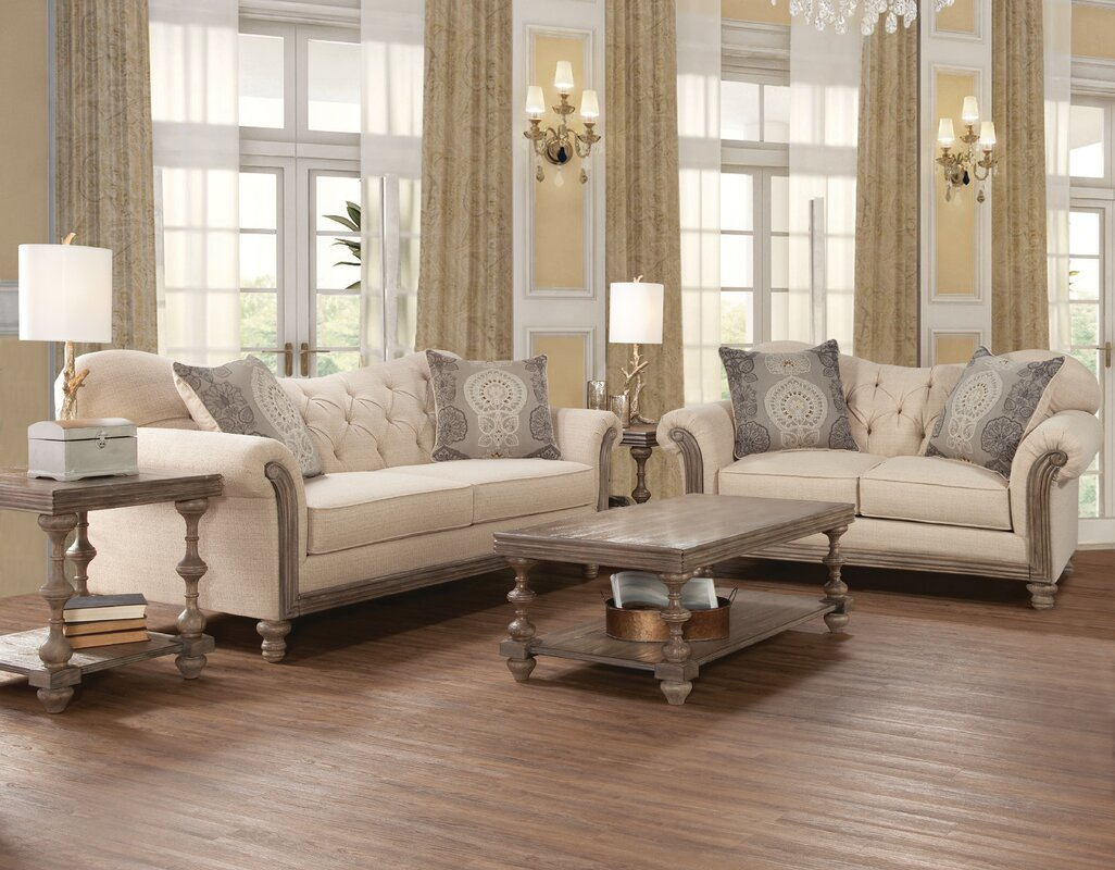 Ophelia & Co. Larrick Fabric Tufted Leather Living Room Set ...