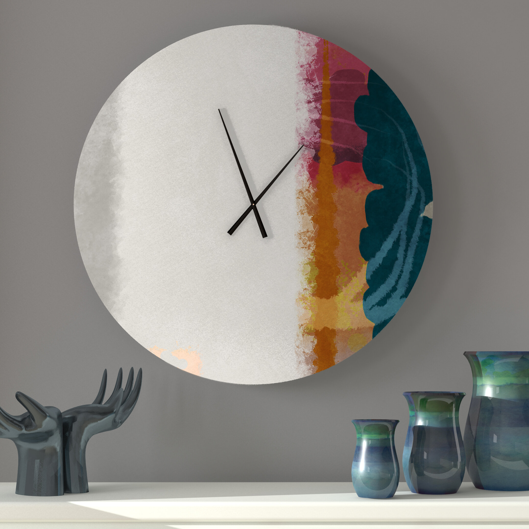 Latitude Run Sensuous Tuneful Abstract Metal Wall Clock Wayfair