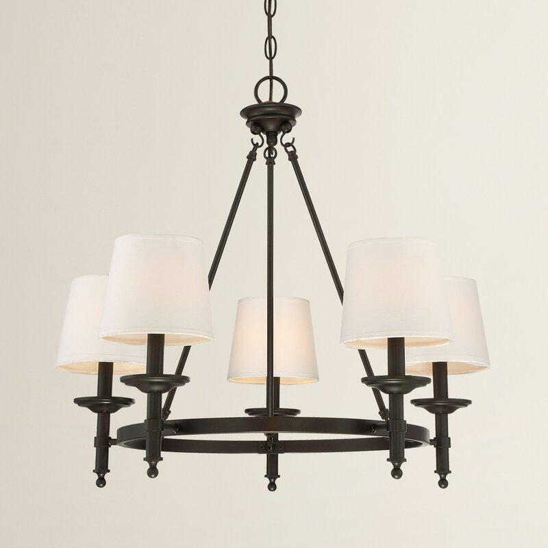 Glastonbury 5 light shaded chandelier