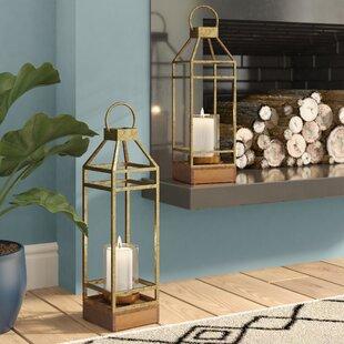 2 Piece Iron and Wood Lantern Set by Brayden Studio