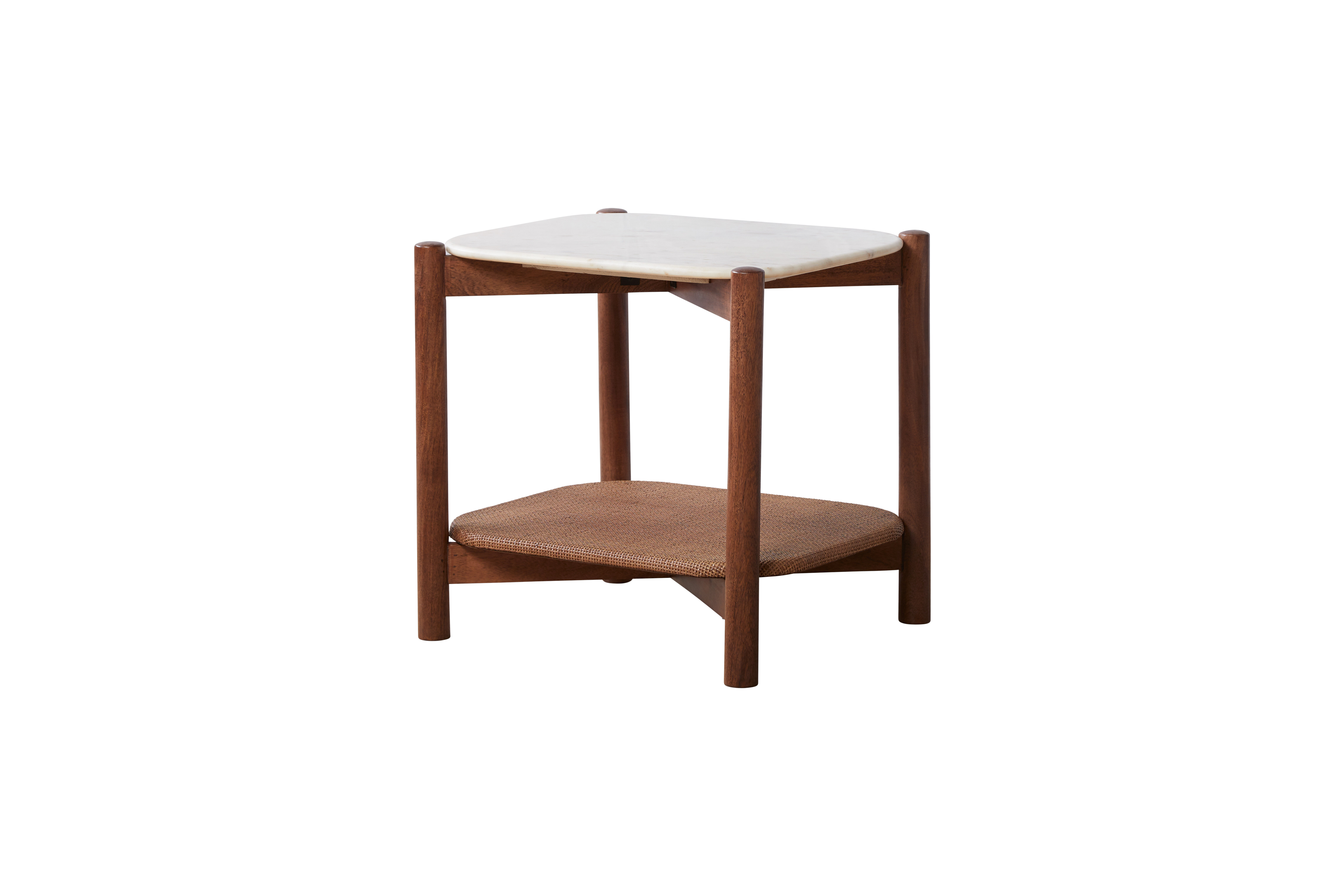 merseles marble top end table with storage