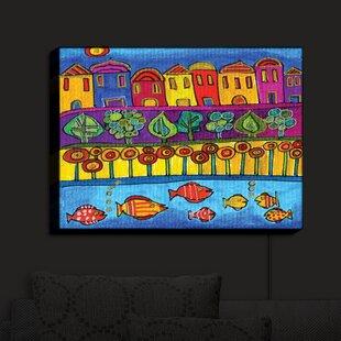 Latitude Run Fishing Village' Print on Fabric