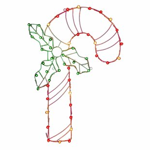 Vickerman Silhouettes Candy Cane C7 Wire Motif