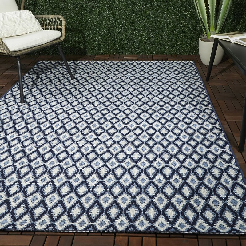 Wrought Studio Anoka Ikat Blue Indoor Outdoor Area Rug Wayfair