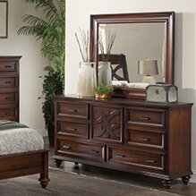 Cayman 6 Drawer Combo Dresser with Mirror