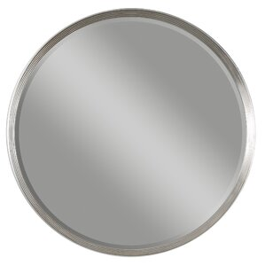 round silver accent wall mirror
