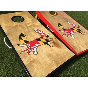 maryland crab cornhole board set with matching toss bags