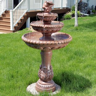 Dunleavy Resin Concrete 3 Tier Dove Pair Water Fountain